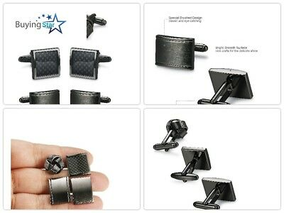 Christmas Gift For Him 4 Pairs Mens Classic Cufflinks Unique Black Top Quality