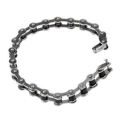 """Stainless Steel Rubber Bike Bicycle Chain Bracelet Bangle 0.4"""" C8V5 P5X7"""