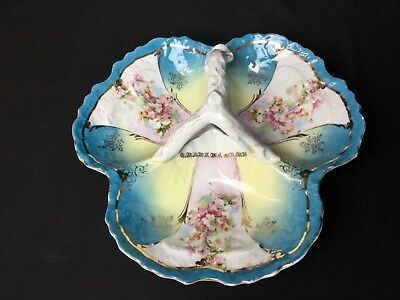 Beautiful Antique 3 Part Hand Painted German Bowl With Handle