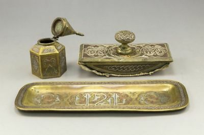 Antique Islamic Set Silver and Copper Damascus Inkwell Ink Blotter Small Tray