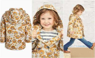 Next Girls Ochre Floral Jacket Coat Shower Resistant Hooded 3-4 Years BNWT Rain