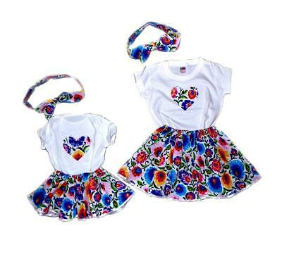 Mum and daughter matching set outfit / Look like mother Skirt, Top & band