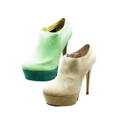 Ladies Suedette high heel high platform ankle boots / shoes