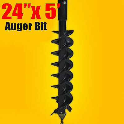 """24""""x 5' Auger Bit HDC 2"""" Hex, For Difficult Digging Conditions, Made In USA"""