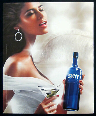 Skyy vodka large print ad 2006 woman white dress, feather
