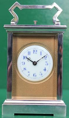 Couaillet Freres French 1920 Art-Deco Silver Brass 8 Day Repeater Carriage Clock