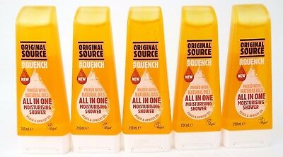 5 x Original Source Skin Quench All In One Shower Peach & Apricot Oil 250ml