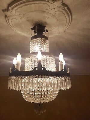 Reproduction Antique French Waterfall Chandelier, 16 Bulb