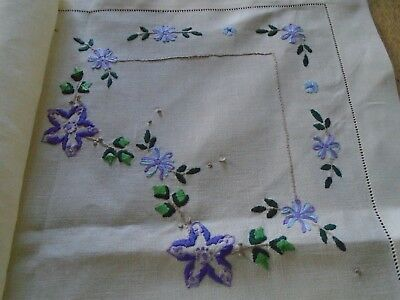 Vintage Hand Embroidered Irish Linen Tablecloth -  43  Inches Square