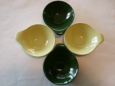 4 RARE JK KNOWLES GREEN LUGGED BOWLS MID CENTURY DANISH MODERN CEREAL Vintage
