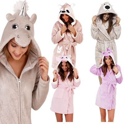 Women/Ladies Charecter Dressing Gown Brushed Fleece Soft Robe Novelty Cosy
