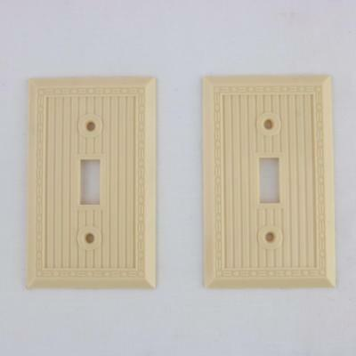 2 VTG Ivory Bakelite Art Deco Rare Pattern Light Switch Plates Covers Toggle NOS