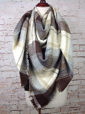 NEW Women's Oversized Blanket Scarf Boho Wrap XL Square Shawl Brown Beige