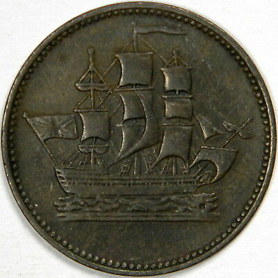 1835 Canada ½ Penny Ships Colonies & Commerce - Round Knob Ampersand!