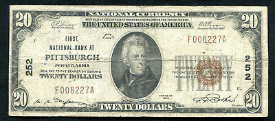 1929 $20 First National Bank At Pittsburgh, Pa National Currency Ch. #252