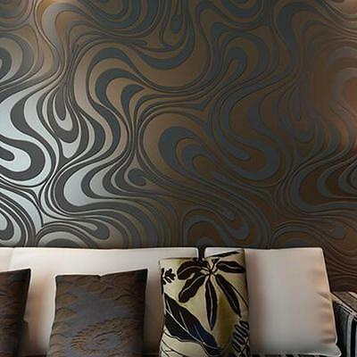 Luxury Abstract Curve 3d Wallpaper Roll Mural Flocking Wall Paper Decor