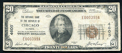 1929 $20 The National Bank Of The Republic Of Chicago, Il Ch. #4605