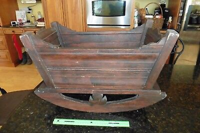 Rocking Baby Cradle crib Bed Vintage Large handmade Solid Wooden bassinet ? doll