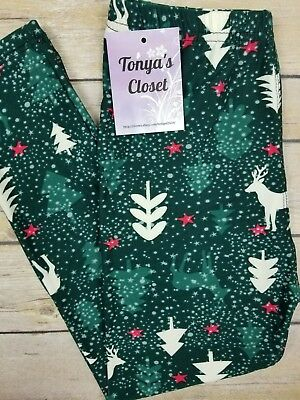 Kids Girls Toddler Leggings Reindeer Holiday Christmas Buttery Soft   S M L