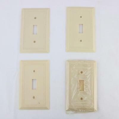 4 VTG Leviton Bakelite Ivory Art Deco Diamond Light Switch Plates NOS 1930s