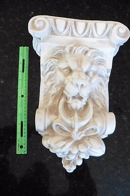 Vintage Corbel Plaster Shelf bracket Lion ring mouth grapes moulding wall mount