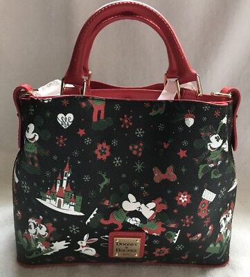 Disney Dooney & and Bourke Christmas Woodland Winter Holiday Tote Purse Bag 3
