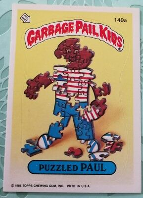 Topps Garbage Pail Kids Card Puzzled Paul 149a Original Series 3 1986