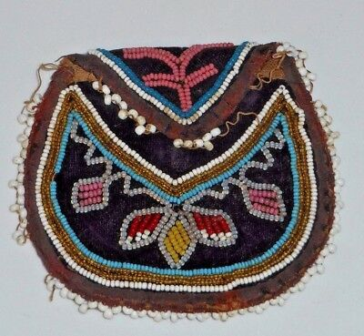 Late 19th Century Iroquois Indian Glass Beaded Pouch w/ Flap