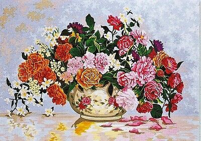 ROMANTIC CHINA BOWL OF ROSES NEEDLEPOINT TAPESTRY canvas to stitch! FREE POST