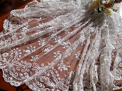 Antique (1850's) Triangular Hand Worked Tambour Lace Wedding Veil From U.k