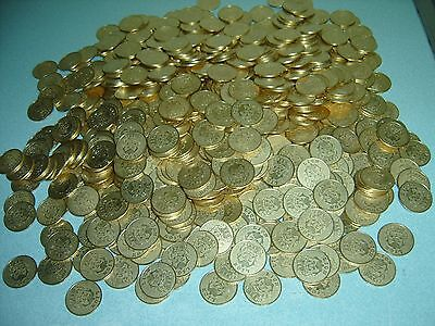 100 New Solid Brass  - 1/2 - Half Dollar Size Slot Machine Tokens -  30Mm