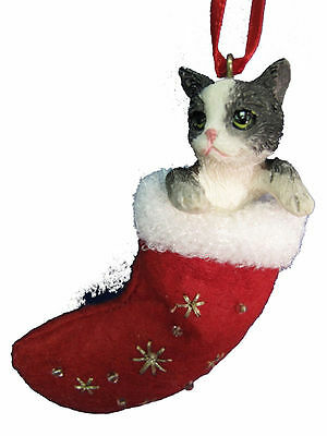 Black and White Cat Santa's Little Pals Dog Christmas Ornament