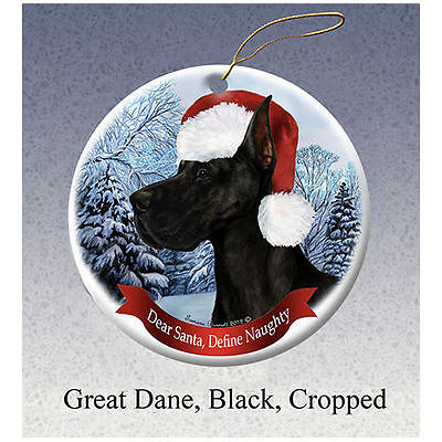 Great Dane Cropped Black Howliday Porcelain China Dog Christmas Ornament