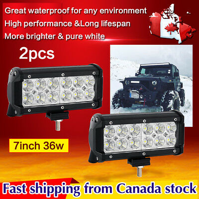 2x 7inch CREE LED Work Light BarFlood Beam Off Road Truck Boat Jeep Ford SUV 4WD