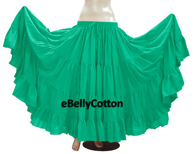 1fe78087ad Turquoise Skirt 25 Yard 4 Tier Cotton Belly Dance Tribal Gypsy Flamenco Jupe