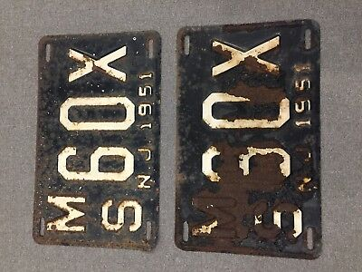 Vintage 1951 NJ License Plates Matching Pair MS 60X Free Shipping