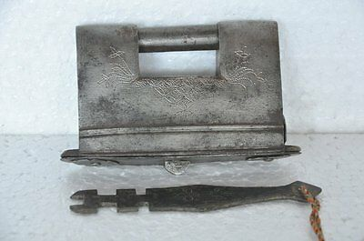 1930's Old Iron Unique Shape Inlay Engraved Handcrafted Strip System Padlock