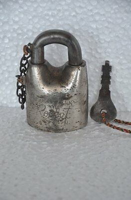 Old 1930's Iron Handcrafted ROCKET Brand Solid Heavy Padlock , Rich Patina