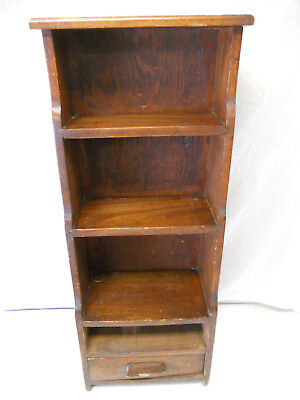 "Antique Oak Bookcase Child's Kids Childrens Small Vintage Wall 41"" Drawer"