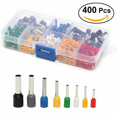 400pcs Wire Copper Crimp Connector Insulated Cord Pin End Terminal 22 to 10 Kit
