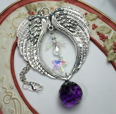 Double Wings ~ AB Angel Star ~ Dark Purple Feng Shui Prism  ~ Mobile Suncatcher