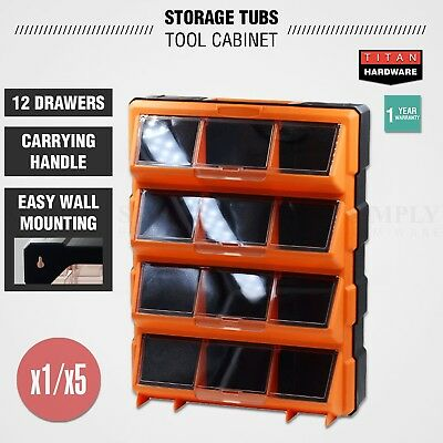 Plastic Storage Tubs Cabinet 12-60 Drawers Tool Box Bin Chest Shelf Organiser