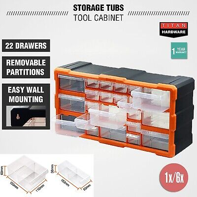 Plastic Storage Tubs Cabinet 22-132 Drawers Tool Box Bin Chest Shelf Organiser