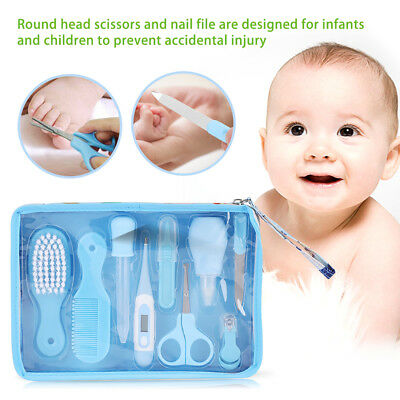 6Pcs/9Pcs Newborn Baby Nail Hair Health Care Set Thermometer Grooming Brush Kit