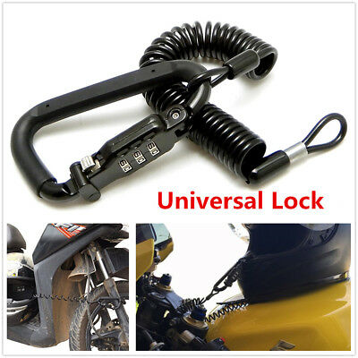 1Pcs Motorcycle Helmet Lock & Cable Black Tough Combination With PIN Locking Kit