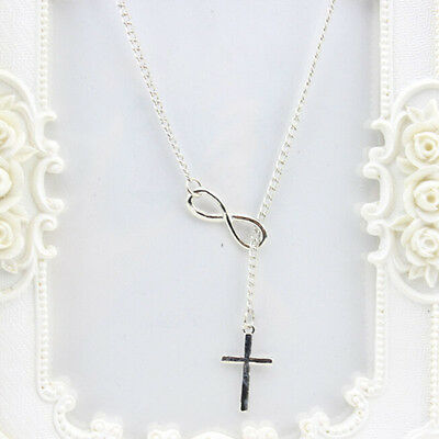 Fashion Vintage Women Lady Silver Cross Charm Pendant Statement Chain Necklace
