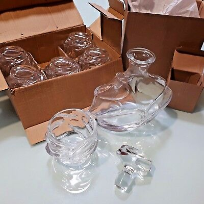 NEW Wave Pattern Whiskey Decanter Set with 6 Glasses Gift Set Christmas Present