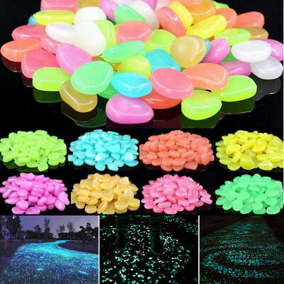 1Bag Glow In The Dark Pebbles Stone Home Garden Decor Walkway Aquarium Fish Tank