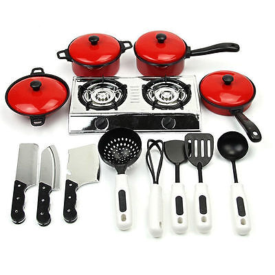 Kids Kitchen Accessories Cooking Pretend Role Play Toys Cookware Set Xmas Gifts