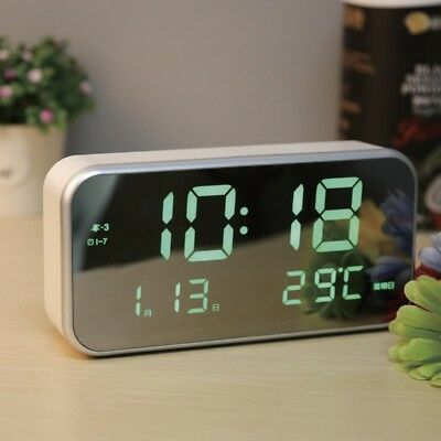 AU Auto-Brightness LED Screen Date Temperature Display Digital Music Alarm Clock